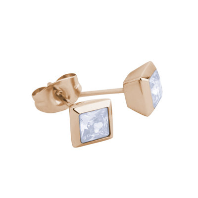 Melano Square Earstuds Liza Stainless Steel Rose Gold-coloured Zirkonia Moonstone