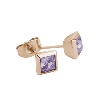 Melano Square Earstuds Liza Stainless Steel Rose Gold-coloured Zirkonia Lavendel