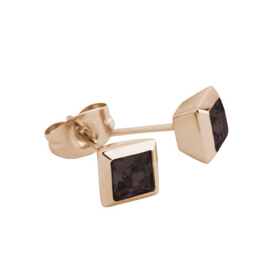 Melano Square Earstuds Liza Stainless Steel Rose Gold-coloured Zirkonia Coffee