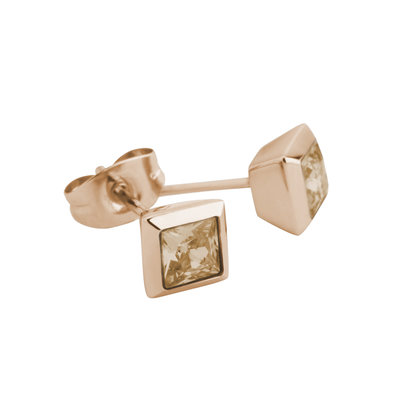 Melano Square Earstuds Liza Stainless Steel Rose Gold-coloured Zirkonia Champagne