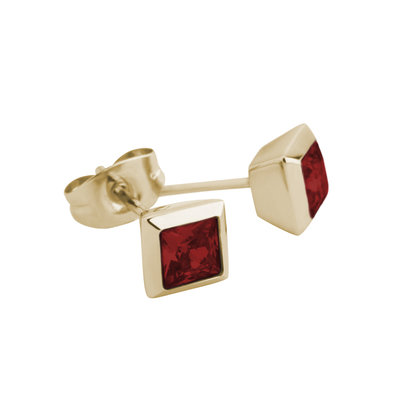 Melano Square Earstuds Liza Stainless Steel Gold-coloured Zirkonia Dark Red