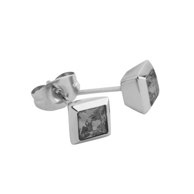 Melano Square Earstuds Liza Stainless Steel Silver-coloured Zirkonia Transparant Black