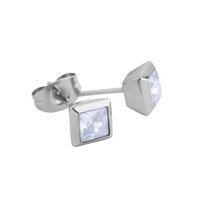 Melano Square Earstuds Liza Stainless Steel Silver-coloured Zirkonia Moonstone