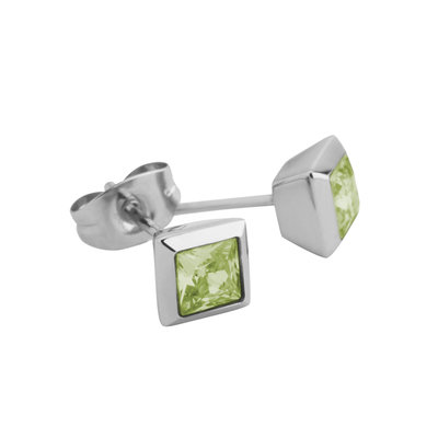 Melano Square Earstuds Liza Stainless Steel Silver-coloured Zirkonia Lime
