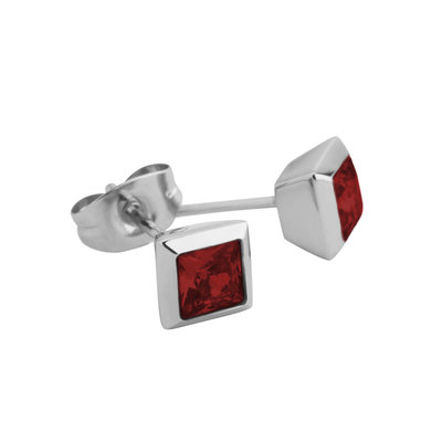 Melano Square Earstuds Liza Stainless Steel Silver-coloured Zirkonia Dark Red