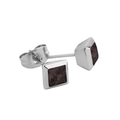 Melano Square Earstuds Liza Stainless Steel Silver-coloured Zirkonia Coffee