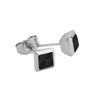 Melano Square Earstuds Liza Stainless Steel Silver-coloured Zirkonia Black
