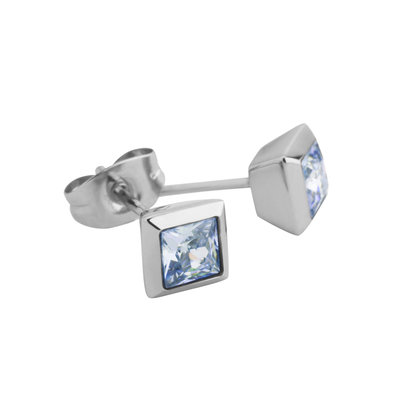 Melano Square Earstuds Stainless Steel Silver-coloured Zirkonia AB
