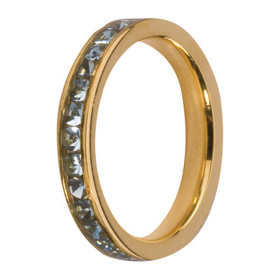 Melano Friends Side Ring Goudkleurig, Zirkonia Stones Aqua
