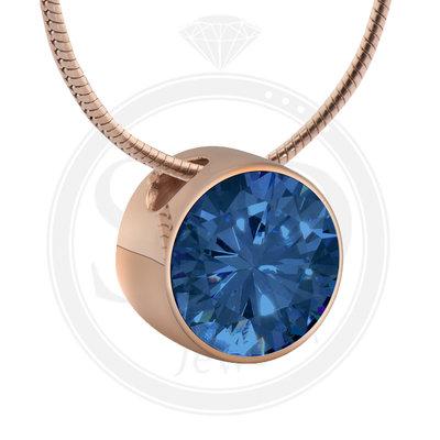 Melano Rose Goudkleurig Zirkonia Hanger Blue