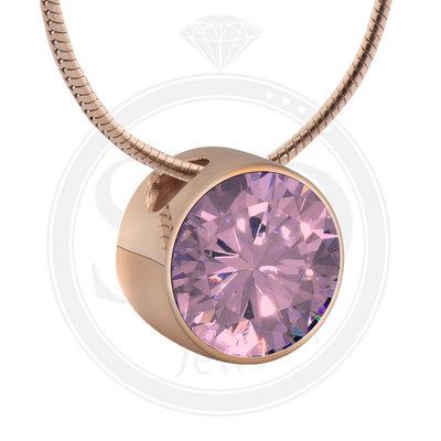 Melano Rose Goudkleurig Zirkonia Hanger Pink