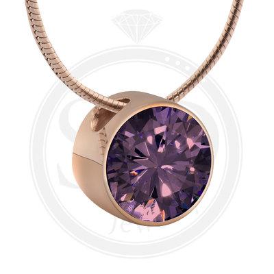 Melano Rose Goudkleurig Zirkonia Hanger Purple