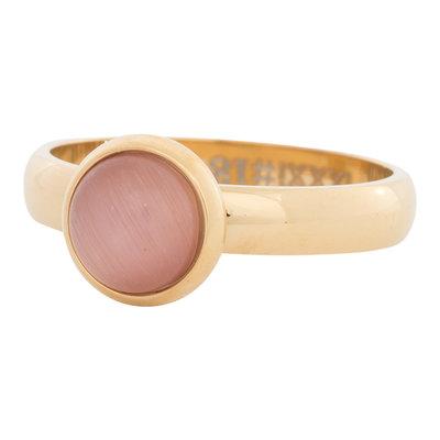 iXXXi Ring 4mm Edelstaal Goudkleurig 10mm Cateye Pink