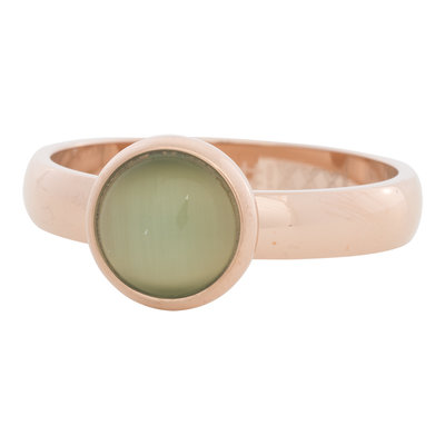 iXXXi Ring 4mm Edelstaal Rose Goudkleurig 10mm Cateye Green