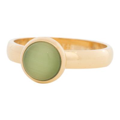 iXXXi Ring 4mm Edelstaal Goudkleurig 10mm Cateye Green
