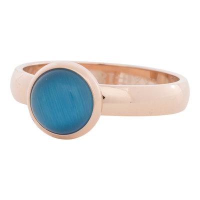 iXXXi Ring 4mm Edelstaal Rose Goudkleurig 10mm Cateye Blue