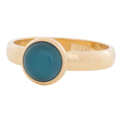 iXXXi Ring 4mm Edelstaal Goudkleurig 10mm Cateye Blue
