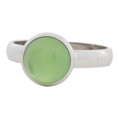 iXXXi Ring 4mm Edelstaal Zilverkleurig 12mm Cateye Green