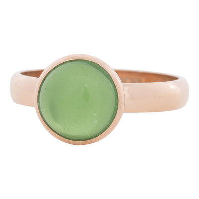 iXXXi Ring 4mm Edelstaal Rose Goudkleurig 12mm Cateye Green