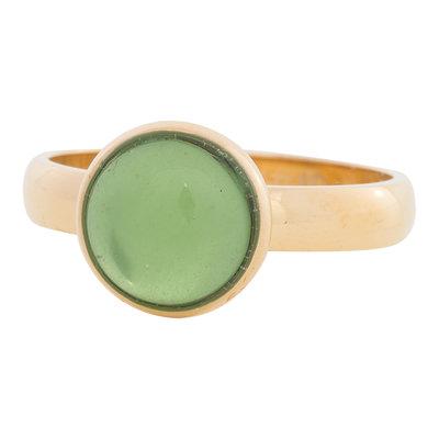 iXXXi Ring 4mm Edelstaal Goudkleurig 12mm Cateye Green