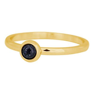 iXXXi Ring 2mm Edelstaal Goudkleurig Natuursteen Dark Blue