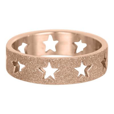 iXXXi Ring 6mm Rose Goudkleurig Open Stars Sandblasted