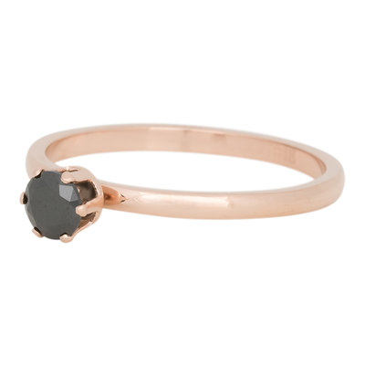 iXXXi Ring 2mm Edelstaal Crown Black Diamond Rose Goud-kleurig