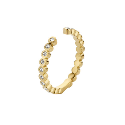 Melano Twisted Ring Tina Edelstaal Goudkleurig Zirkonia Crystal