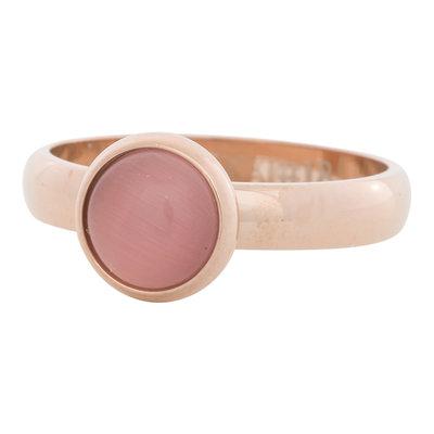 iXXXi Ring 4mm Edelstaal Rose Goudkleurig 10mm Cateye Pink