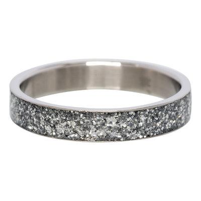 iXXXi Ring 4mm Edelstaal Glitter Zilverkleurig