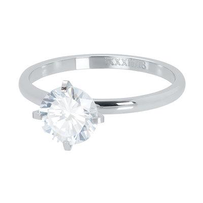 iXXXi Ring 2mm Zilverkleurig Secure Stone Crystal