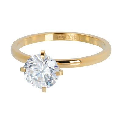 iXXXi Ring 2mm Goudkleurig Secure Stone Crystal