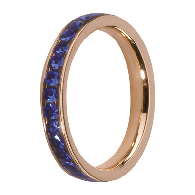 Melano Friends Side Ring Rose Goudkleurig, Zirkonia Stones Blue