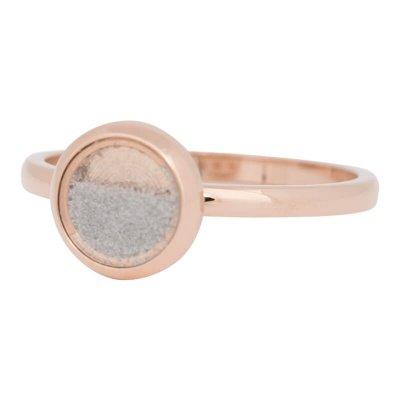 iXXXi Ring 2mm Edelstaal Rose Goudkleurig White Sand