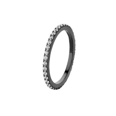 Melano Friends Ring Sade Stainless Steel Zwart Zirkonia Crystal