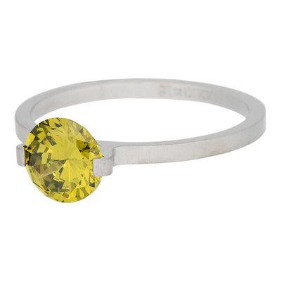 iXXXi Ring 2mm Edelstaal Mat Zilverkleurig Glamour Stone Olivina