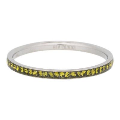 iXXXi Ring 2mm Edelstaal Zilverkleurig Zirkonia Olivina