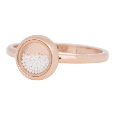 iXXXi Ring 2mm Edelstaal Rose Goudkleurig White Balls