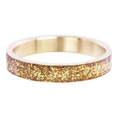 iXXXi Ring 4mm Edelstaal Glitter Goudkleurig