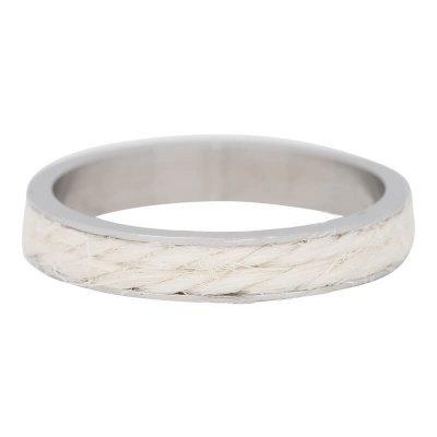 iXXXi Ring 4mm Edelstaal Zilverkleurig White Rope