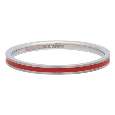 iXXXi Ring 2mm Edelstaal Line Red
