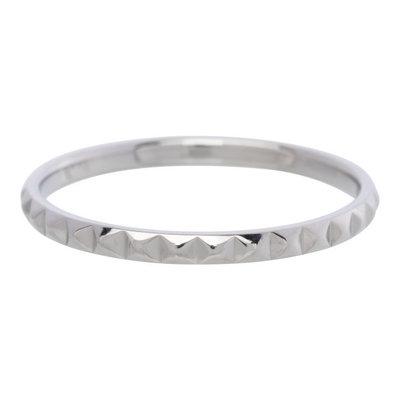 iXXXi Ring 2mm Edelstaal Piramide Zilverkleurig