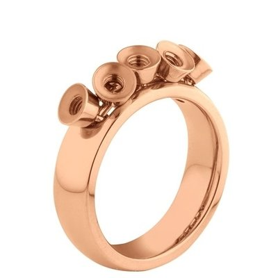 Melano Twisted Ring Tess Edelstaal Rose Goudkleurig