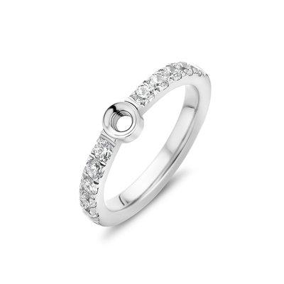 Melano Twisted Zirkonia Ring Silver coloured