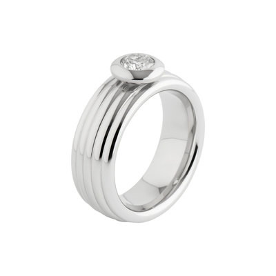 Melano Vivid Edelstaal Ring Zilverkleurig Vera 8mm breed