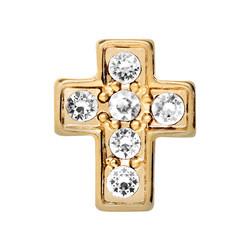 Alexander Jacobs Jewels Floating Charm Edelstaal Goudkleurig Kruis Zirkonia Crystal