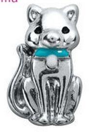 Alexander Jacobs Jewels Floating Charm Edelstaal Zilverkleurig Kat met Strik