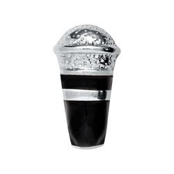 Alexander Jacobs Jewels Floating Charm Edelstaal Zilverkleurig Zwart Microfoon