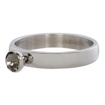 iXXXi Ring 4mm Edelstaal Diamant Zirkonia Black Diamond