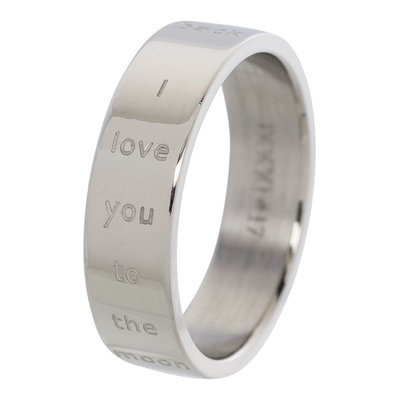 iXXXi Ring 6mm Edelstaal Love You to the Moon and Back Zilverkleurig